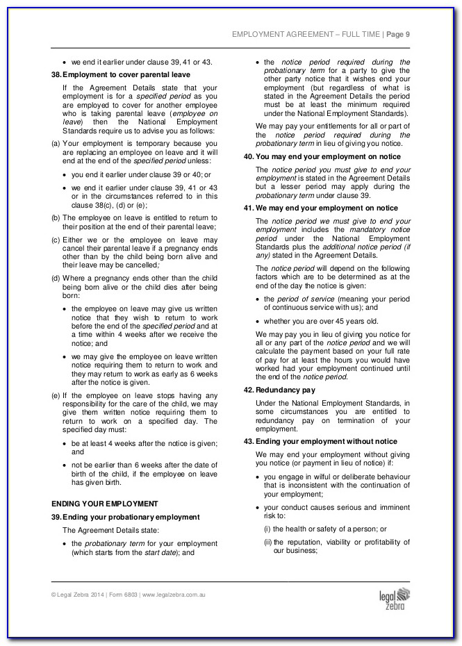 Part Time Employment Contract Template Free