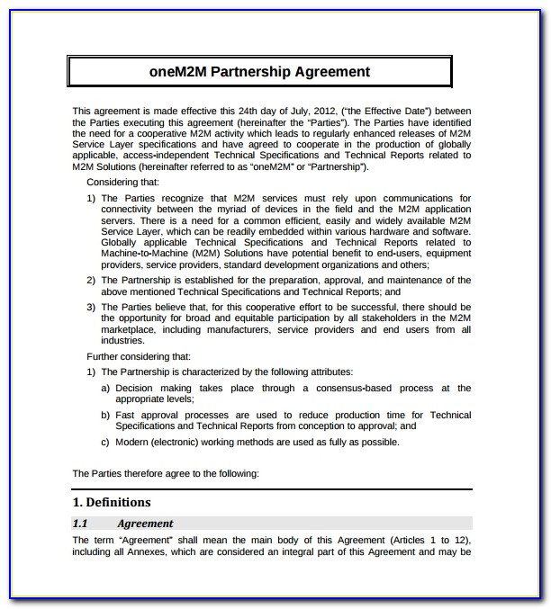 Partnership Agreement Template Free Download Uk
