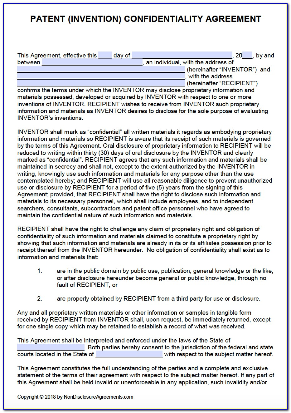 Patent Non Disclosure Agreement Form