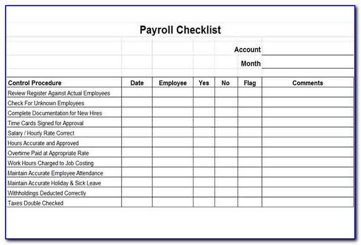 Payroll Checklist Template Word