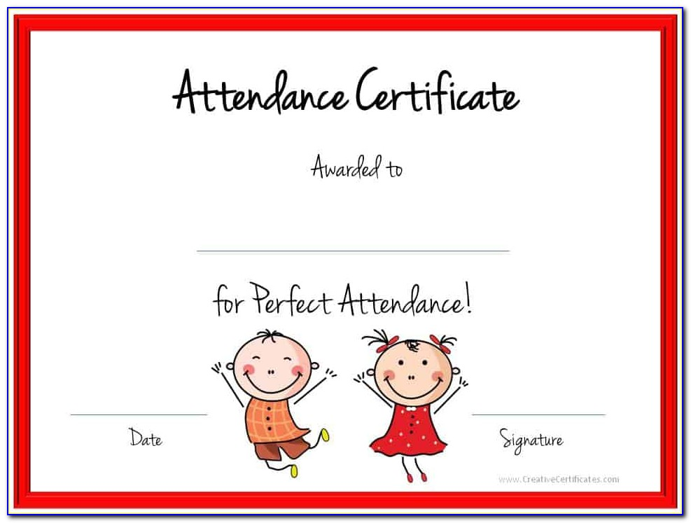 Perfect Attendance Certificate Sample