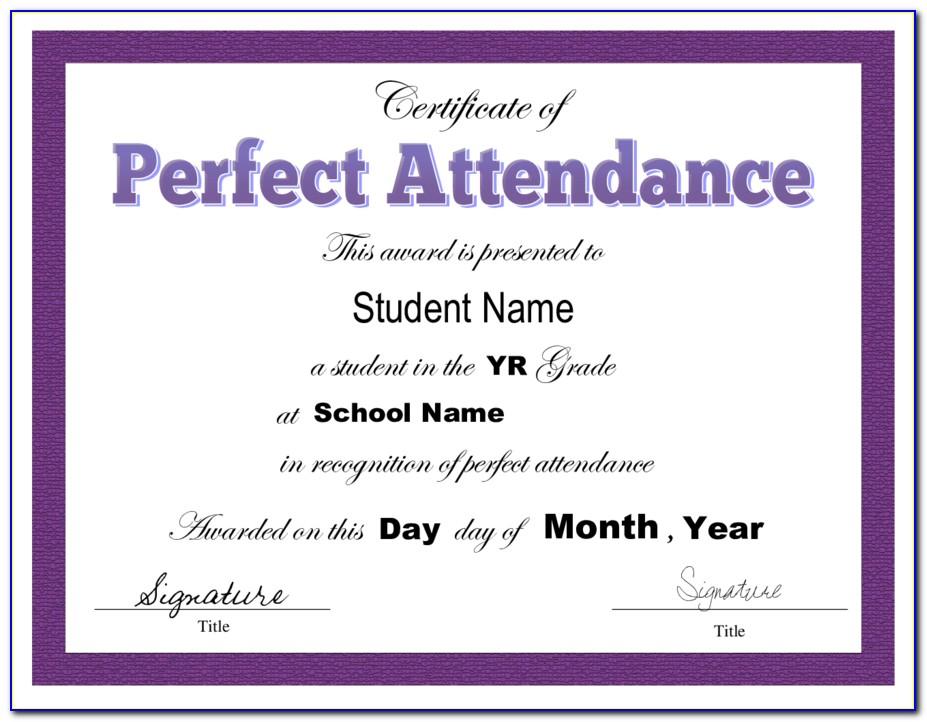 Perfect Attendance Certificate Template Microsoft Word