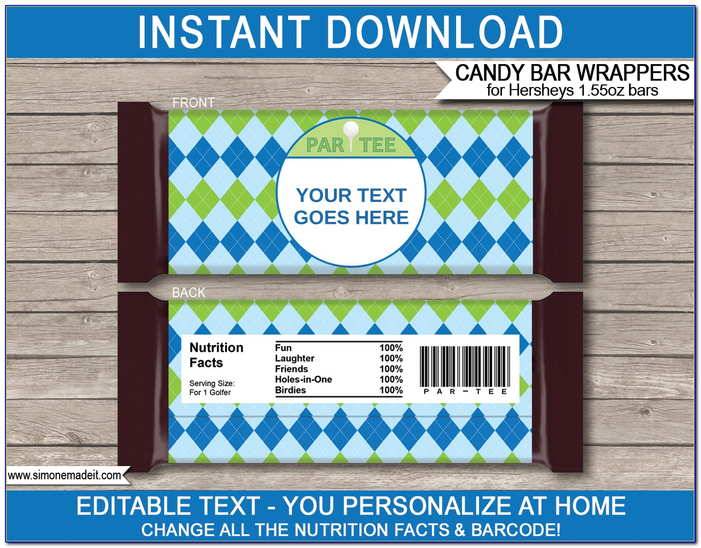 Personalized Hershey Candy Bar Wrapper Template