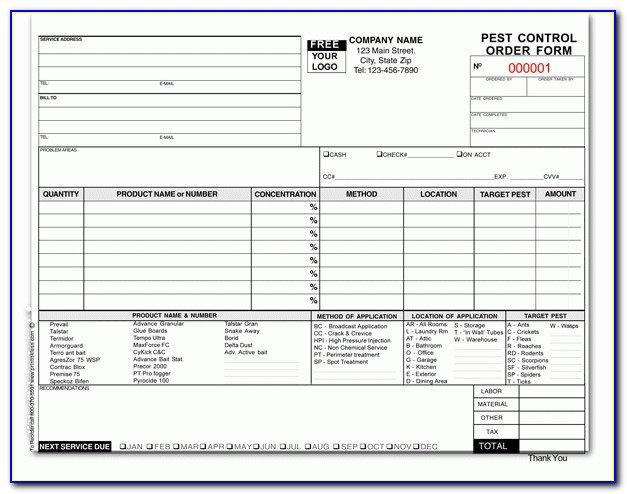 Pest Control Order Form Inside Pest Control Invoice Template