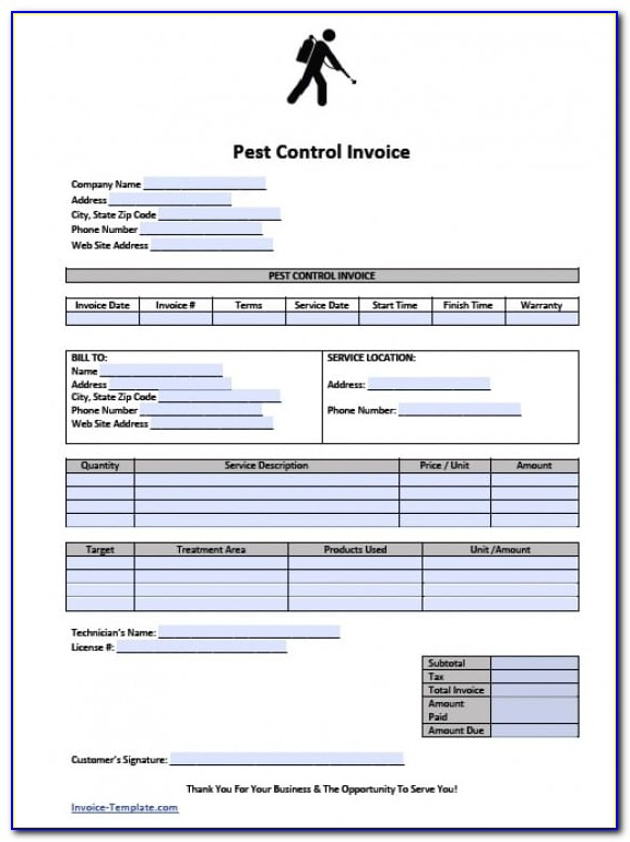 Pest Control Invoice Template Download