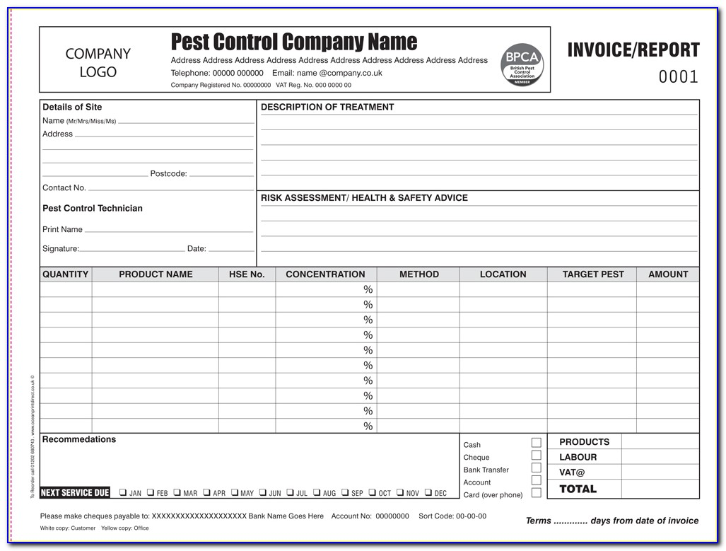Pest Control Invoice Word Format