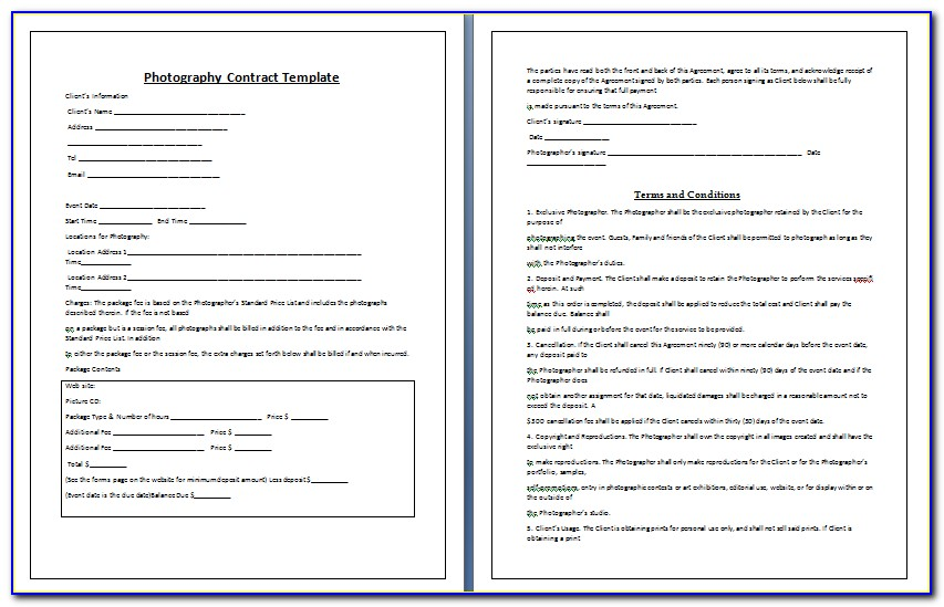 Photographer Contracts Forms