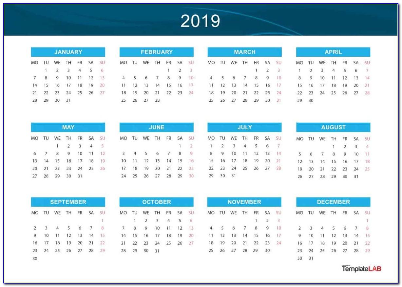 Picture Calendar Template 2018