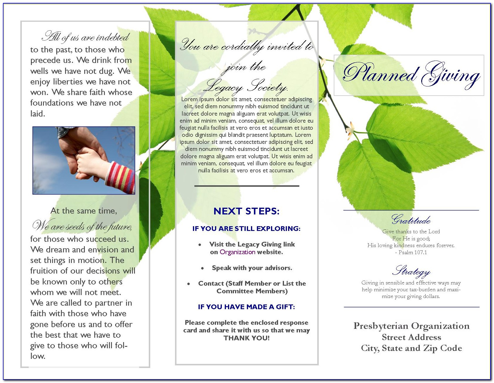 Planned Giving Brochures Templates