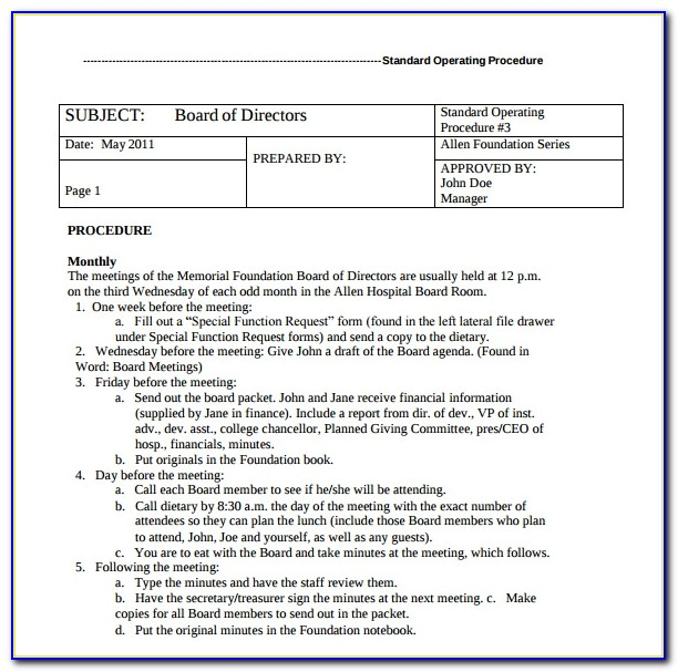 Policy Procedure Manual Template Free Download