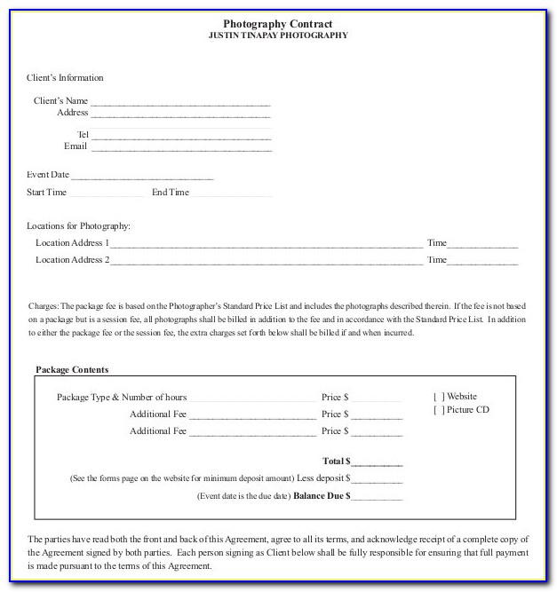 Portrait Photography Contracts Templates