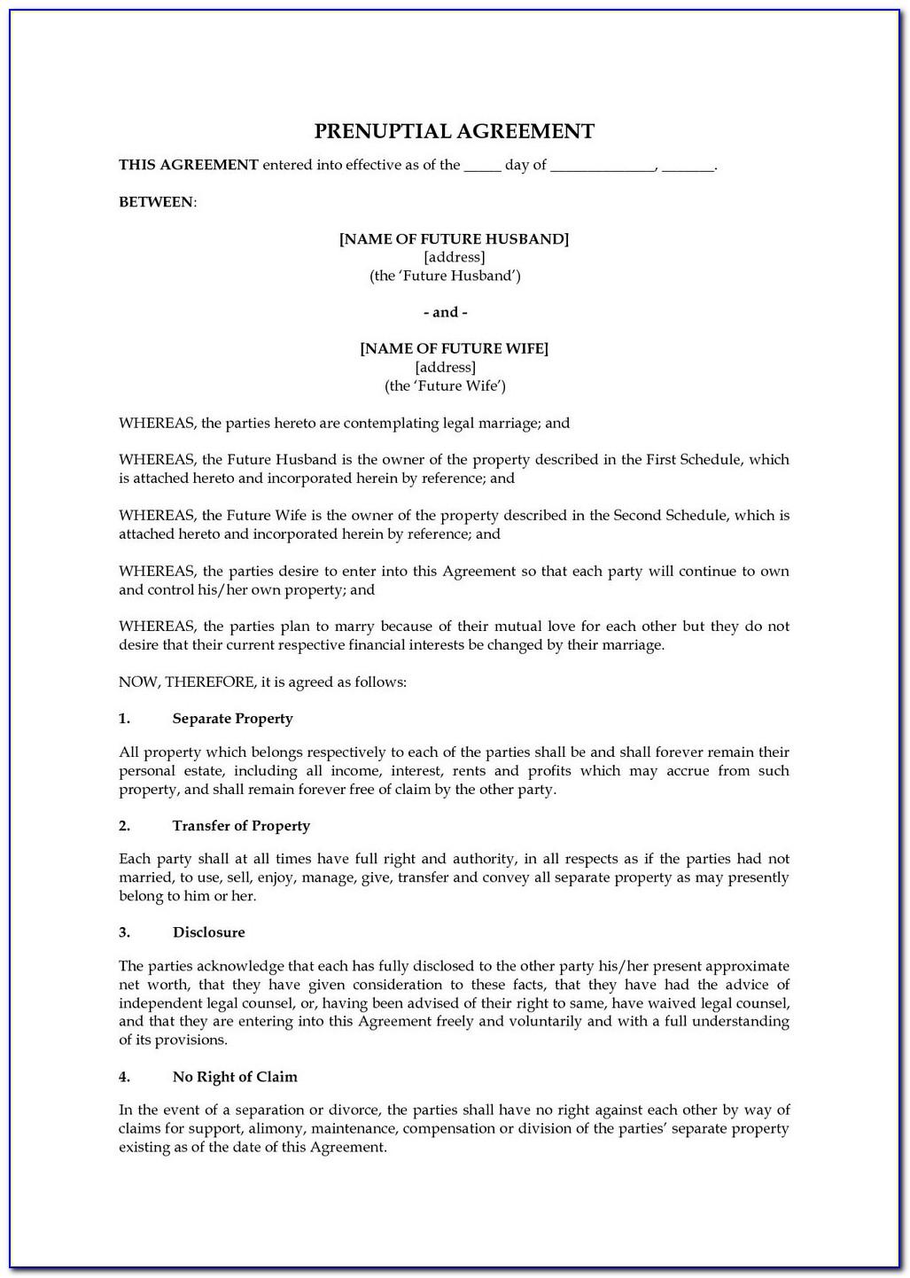 Prenuptial Agreement Example
