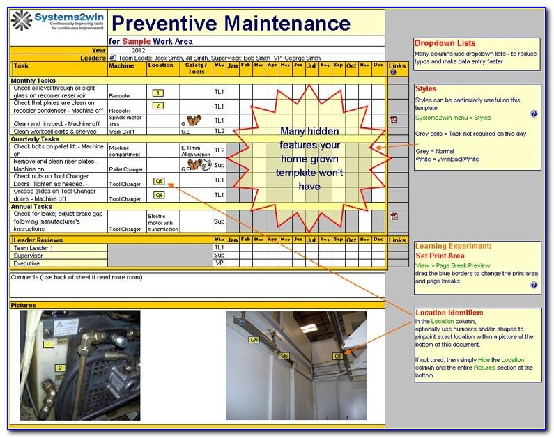 Preventive Maintenance Checklist Excel Template