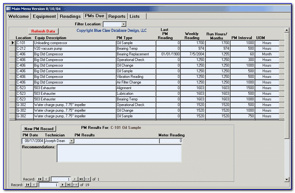 Preventive Maintenance Excel Database Template