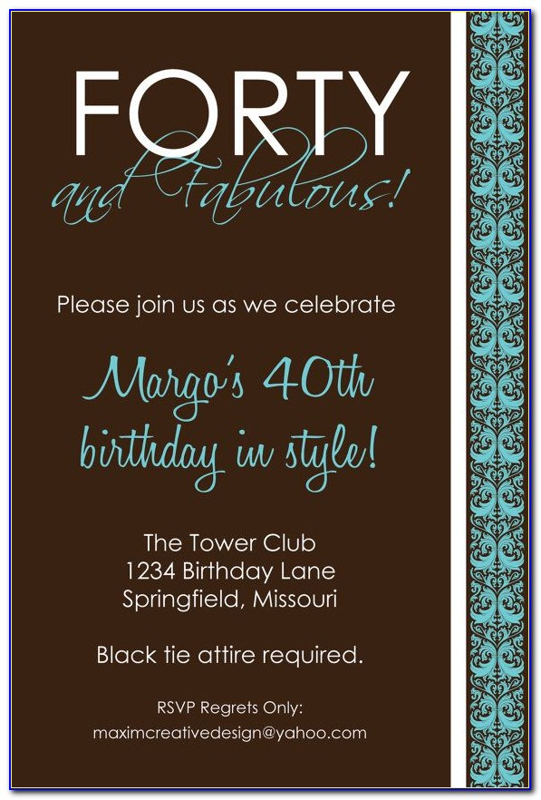Printable 40th Birthday Invitations Templates