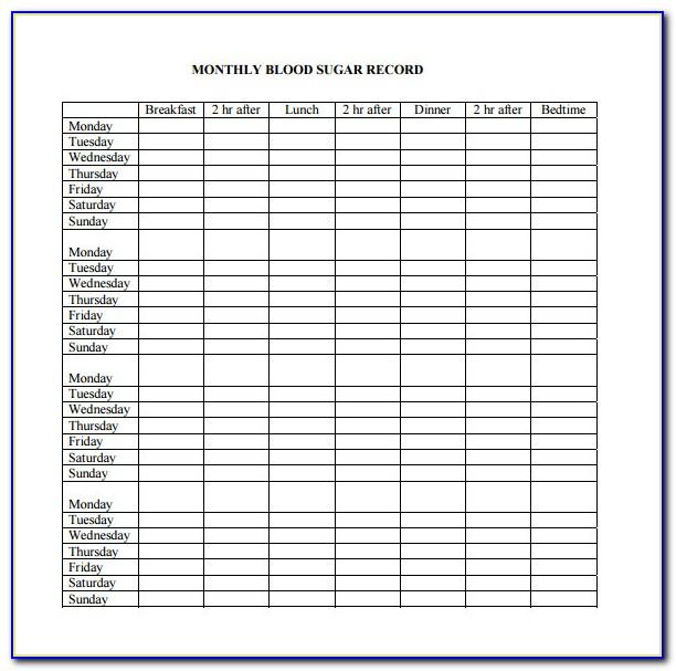 Printable Blood Sugar Chart Template