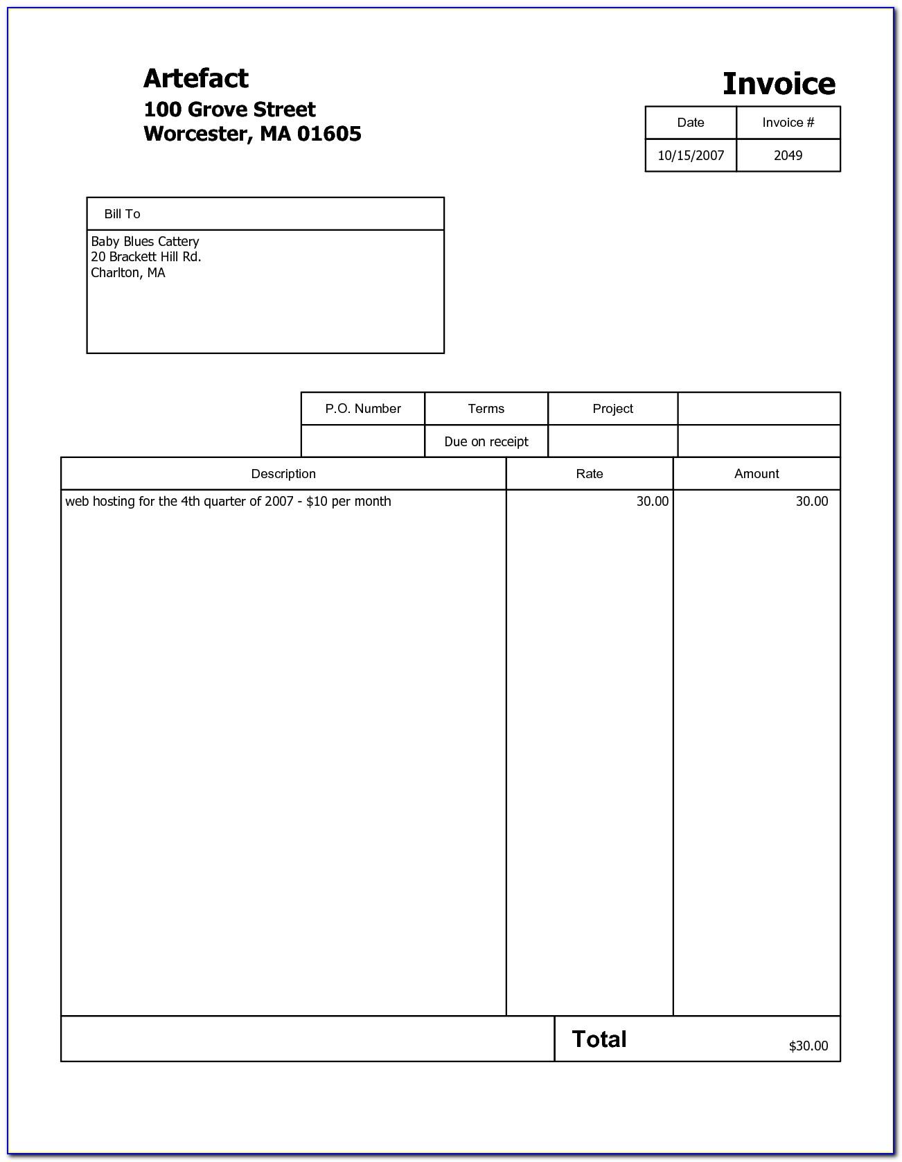 Printable Invoice Template Free