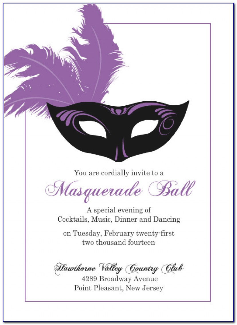 Masquerade Invitations Template Personalized Elegant Masquerade