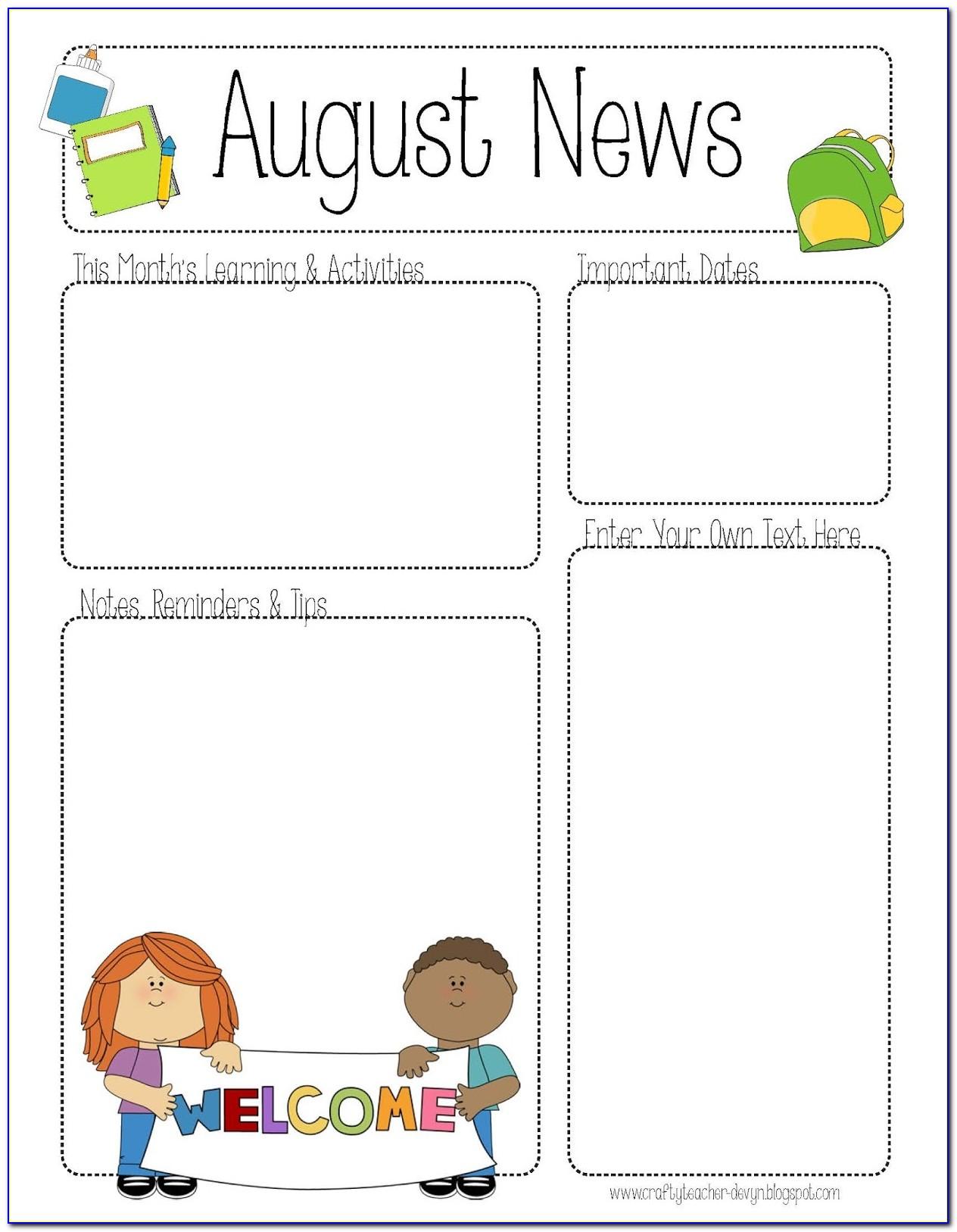 Printable Newsletter Templates For Teachers