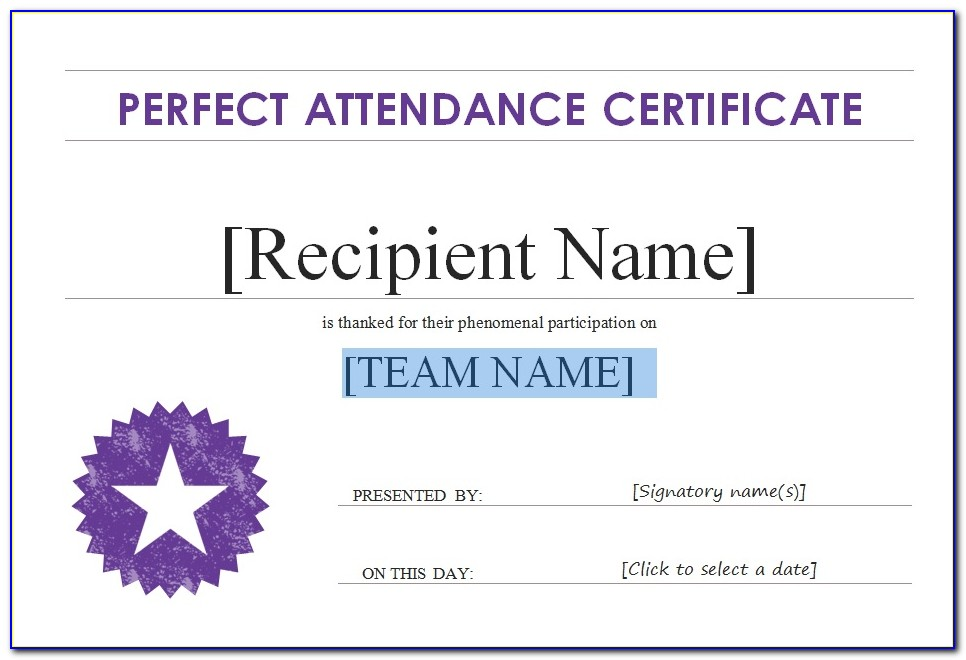 Printable Perfect Attendance Certificate Template