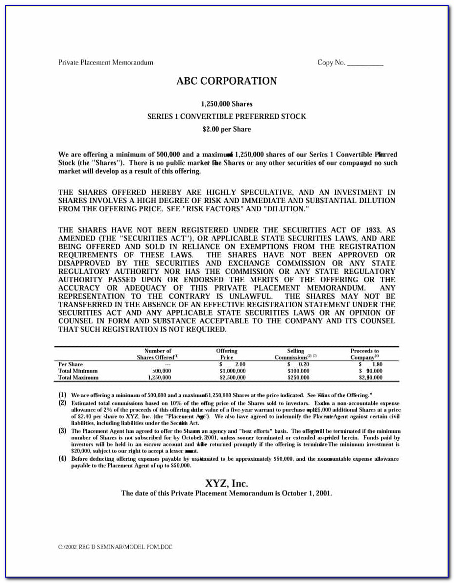 Private Offering Memorandum Template