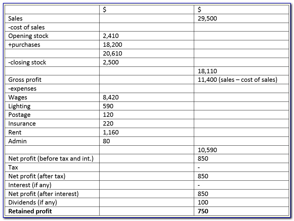 Profit And Loss And Balance Sheet Template