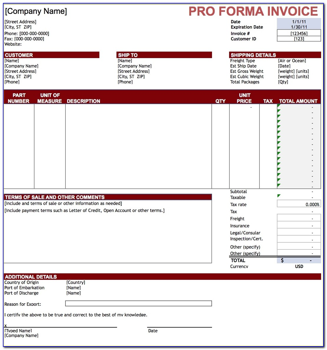 Free Pro Forma Invoice Template Excel Pdf Word Doc Performance Invoice Sample