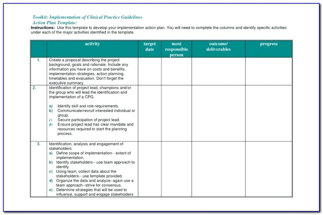 Project Action Plan Template Excel Free Download
