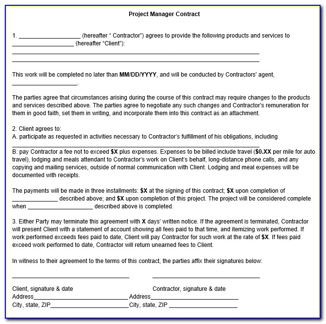 Project Management Consultant Agreement Format