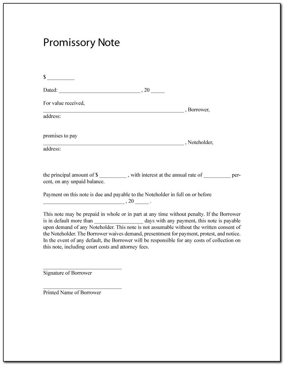 Promissory Note Sample Template