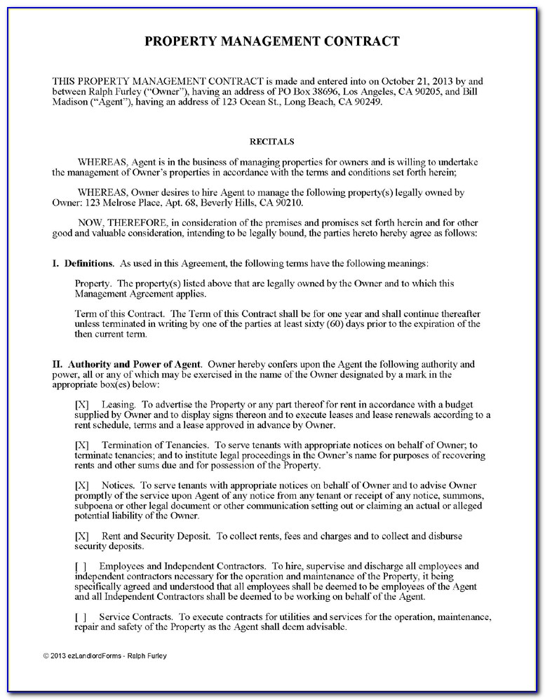 Property Management Agreement Example