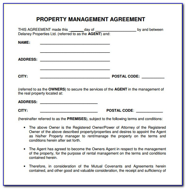 Property Management Agreement Template Free