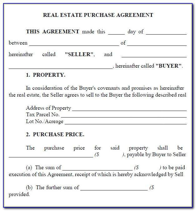 Property Purchase Agreement Template Free