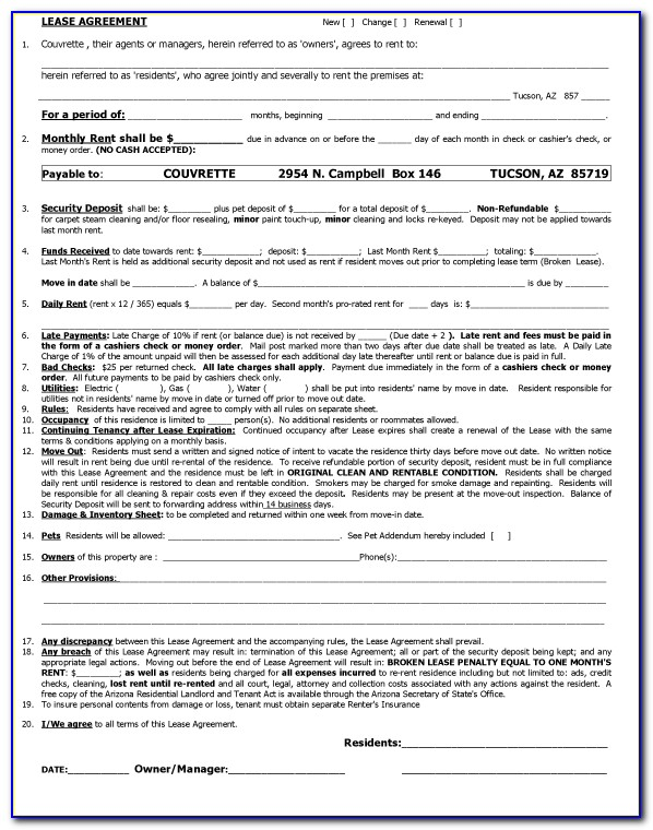Property Rent Agreement Template