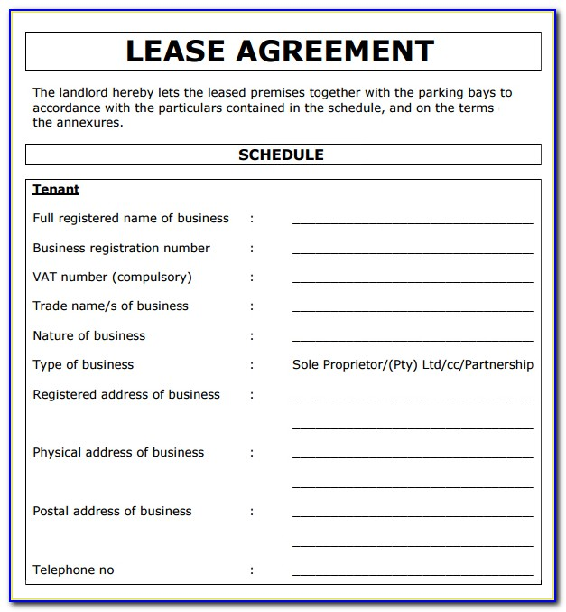 Property Rental Agreement Template South Africa