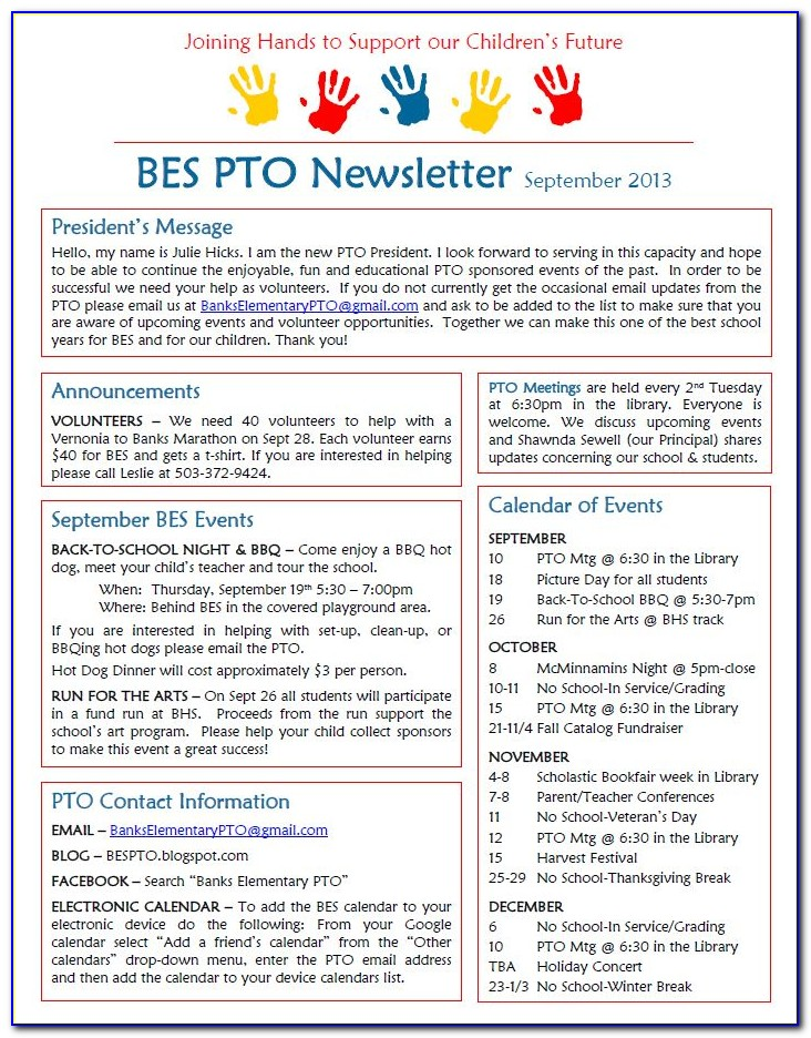 Pta Newsletter Templates Free