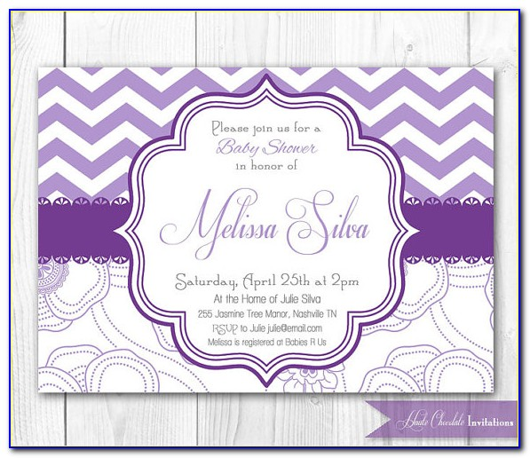 Purple And Silver Baby Shower Invitation Templates