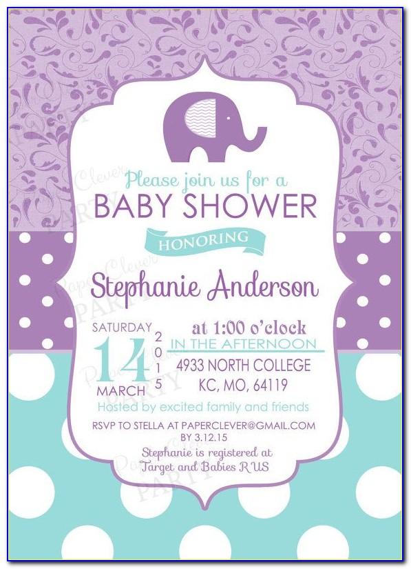 Purple Baby Shower Invitation Templates