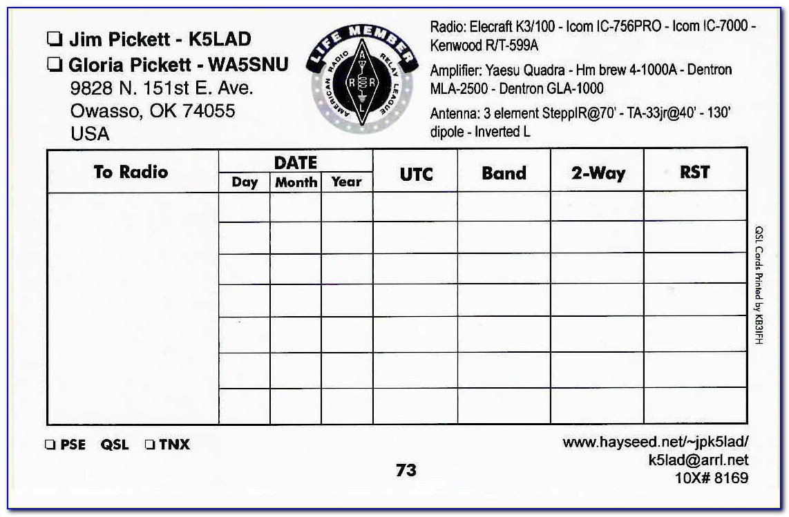 Qsl Cards Template