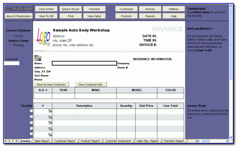 Quickbooks Automotive Repair Template