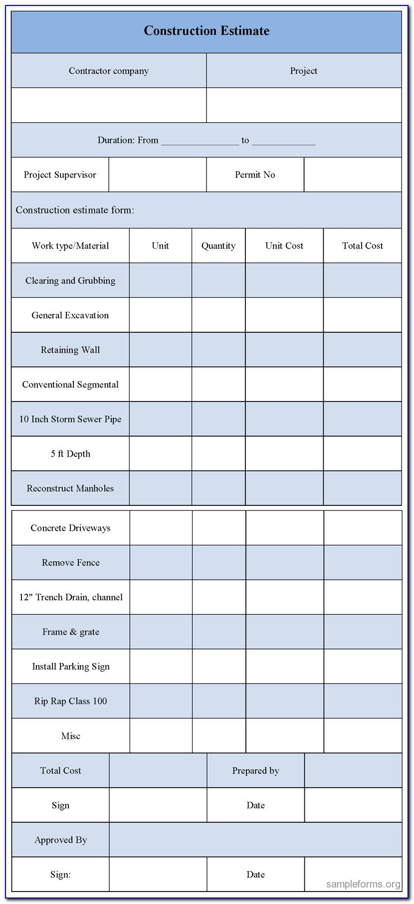 Quickbooks Contractor Estimate Templates