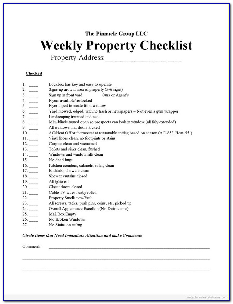 Real Estate Agents Checklist Template
