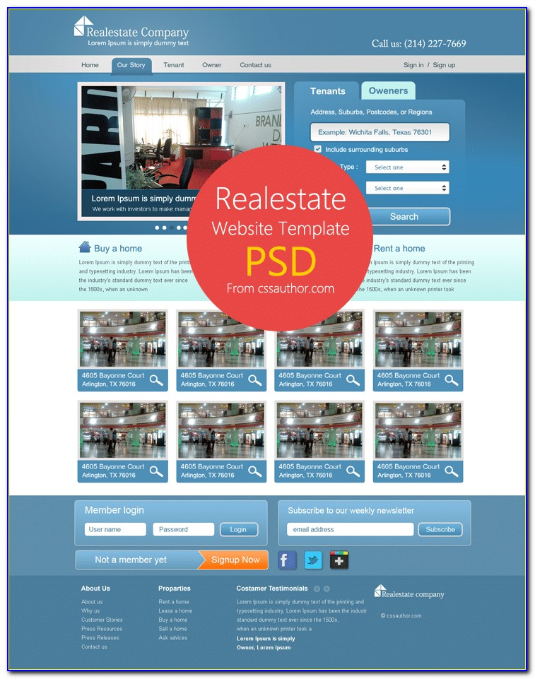 Real Estate Website Templates Free Download Psd