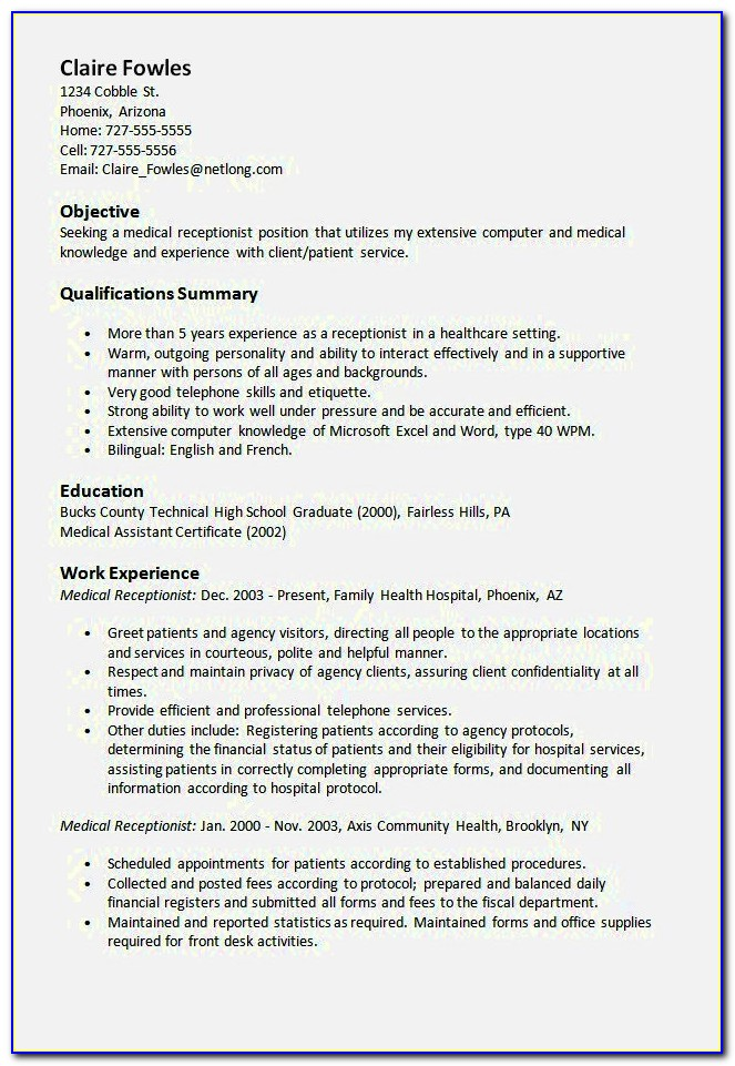 Examples Of Resumes For Receptionist Jobs