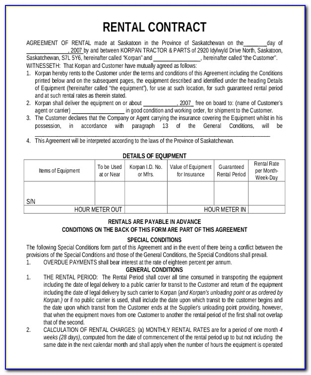 Rent Contracts Forms