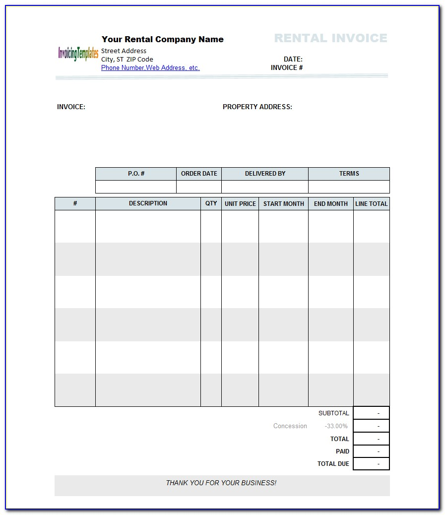 Rent Invoice Template Microsoft Word