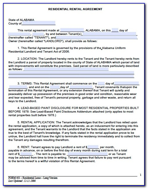 Rental Lease Agreement Free Printable