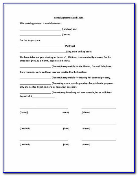 Rental Lease Contract Template Free