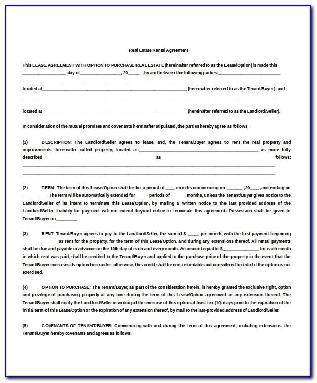 Rental Property Lease Agreement Form