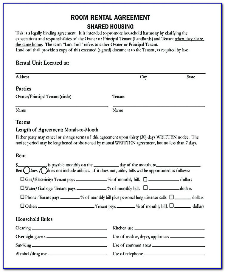 Renting Room Agreement Template